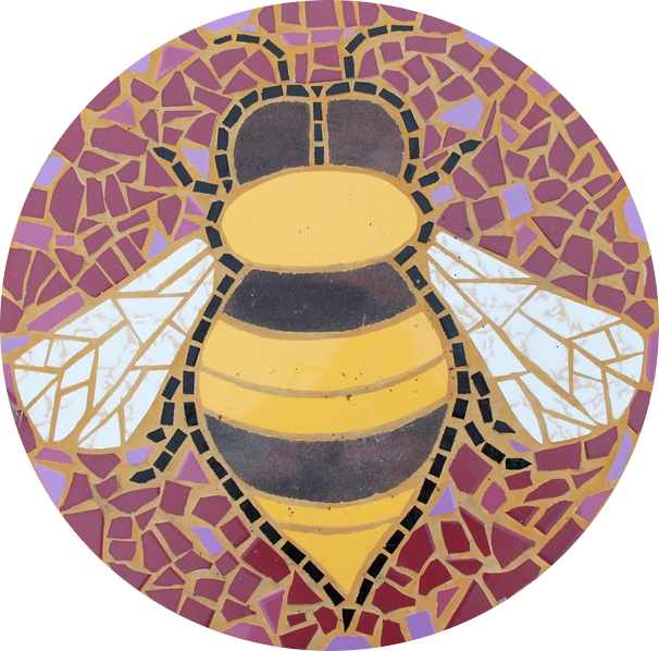Round floor mosaic in the shape of a bee