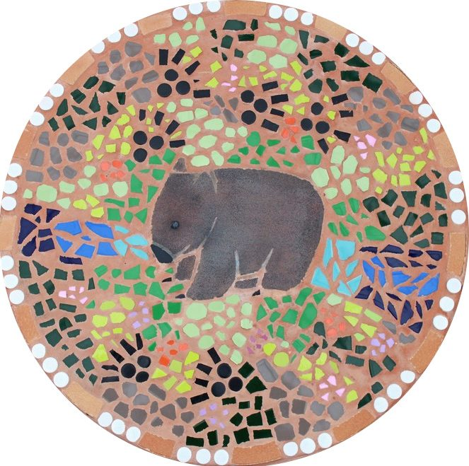 Round floor mosaic in the shape of a koala