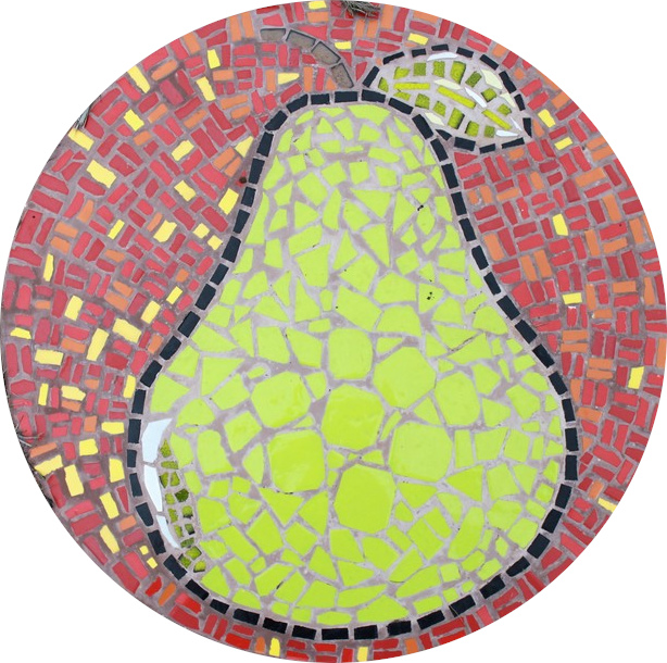 Round floor mosaic in the shape of a green pear