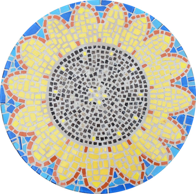 Round floor mosaic in the shape of a sunflower