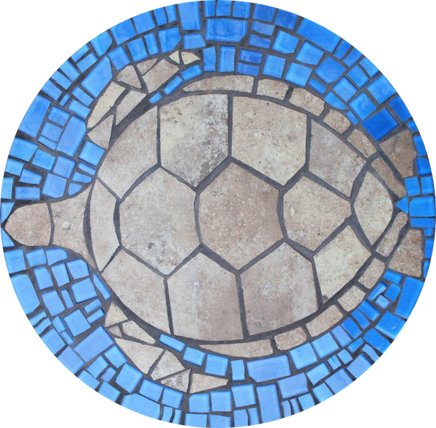 Round floor mosaic in the shape of a turtle