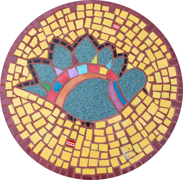 Round floor mosaic in the shape of a dove