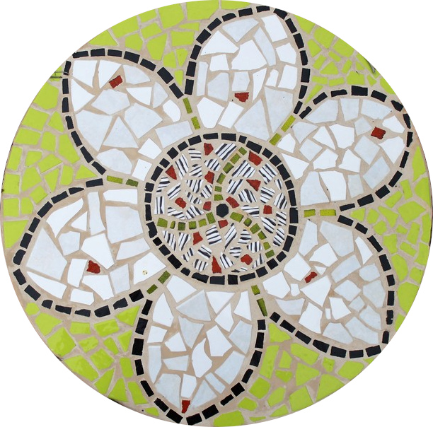Round floor mosaic in the shape of a flower